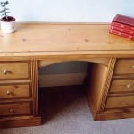 Pine desk inlaid with oak