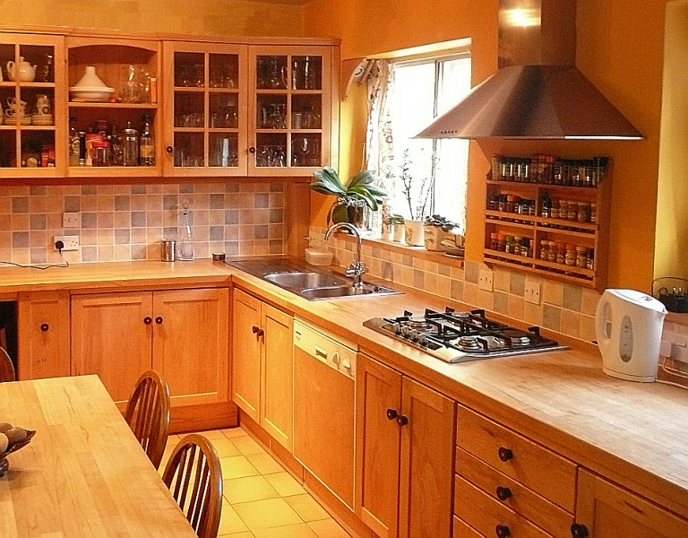 Kitchen with rosewood turned doorknobs