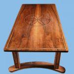 English walnut coffee table inlaid with ebony and ash