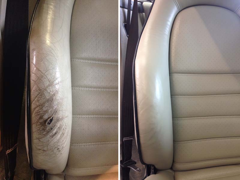 Leather repair to porsche targa seat