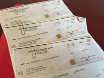 Donations cheques - Grade 7 30-Hour Famine
