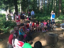 Learning about honeybees in our outdoor classroom