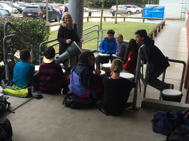 When Learning Lab is busy we take our Drumming outside!