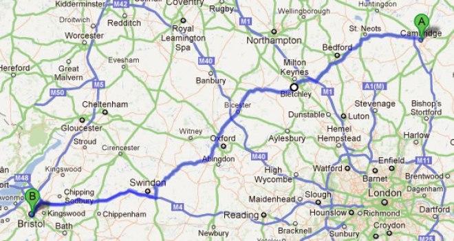 Image result for Bristol to Cambridge