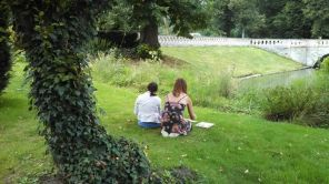 Elissa and Stephanie perfect their pieces on the grassy slope