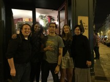 CWW Staff following a great night at Spoken Word Paris (From left to right: Alex Carrigan, Rita Banerjee, Victor Pachas, Elissa Lewis, and Diana Norma Szokolyai)