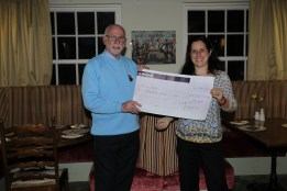 Chris presenting the £2,000 cheque