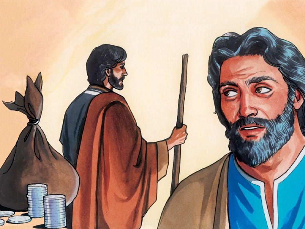 Judas accepting silver coins
