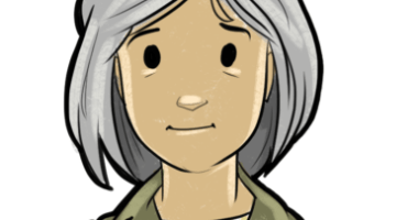 Cartoon image of woman called Janet