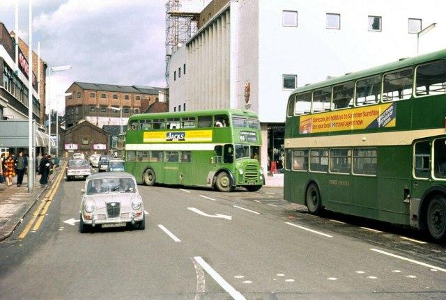 Car and bus on Bridge Street Luton.