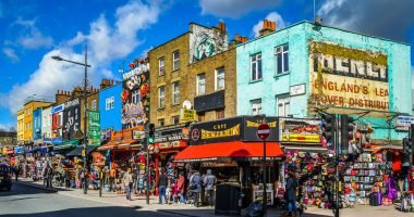 shops and buildings in Camden market.