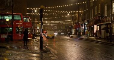 Highgate village at night