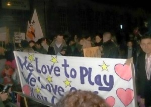 Camden Unison, parents and children demonstrate against closure of the play service