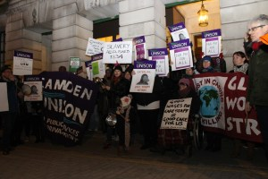Residential care workers and dinner ladies lobbying the Council for the living wage. Photograph courtesy of William McLellan, Camden New Journal