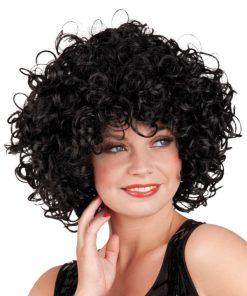 perruque brune frisée