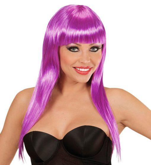 perruque longue violette