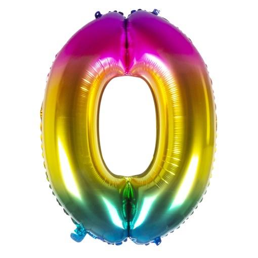 ballon chiffre 0 multicolor