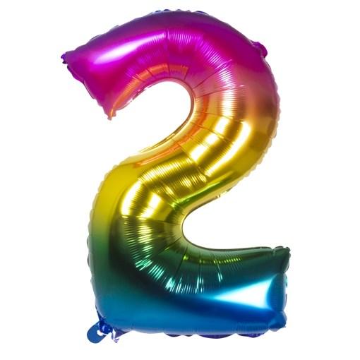 ballon chiffre 2 multicolore