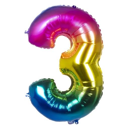 ballon chiffre 3 multicolore