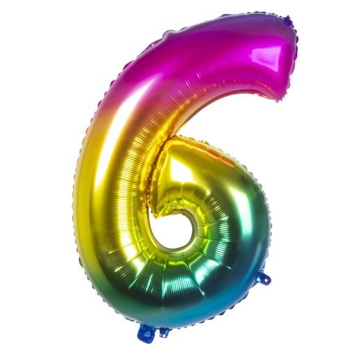 ballon chiffre 6 multicolore