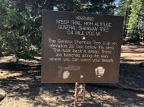 General Sherman Walk Warning