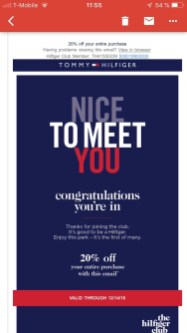 Tommy Discount Email