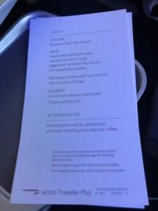 British Airways World Traveller Plus Menu London Orlando Route