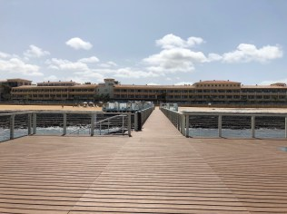 Looking back at the hotel from the pier