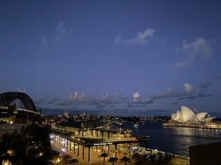 Opera house illuminated at night