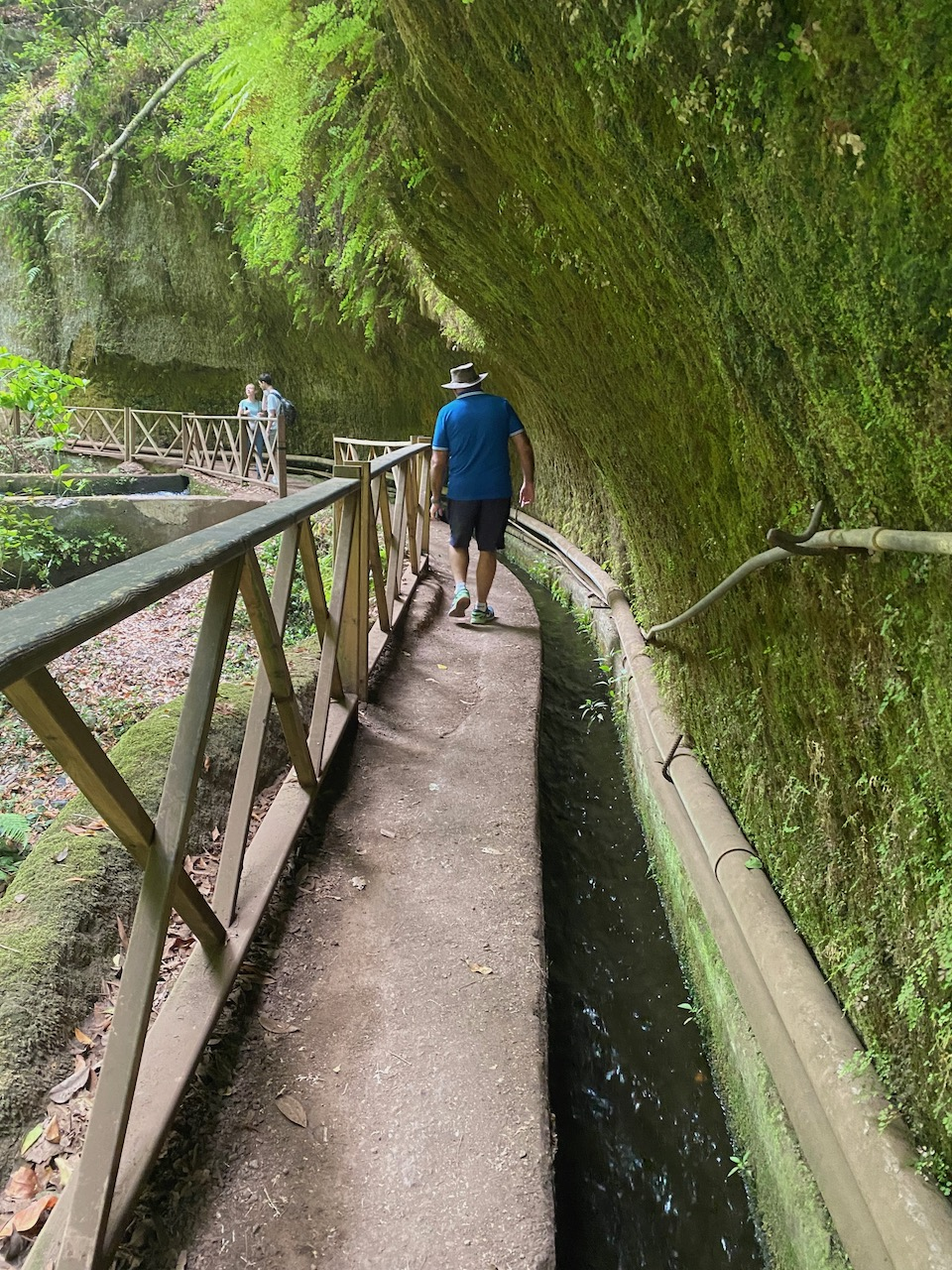 Mike walking next to the aqueduct