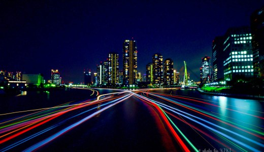 長時間露光で撮る夜の永代橋
