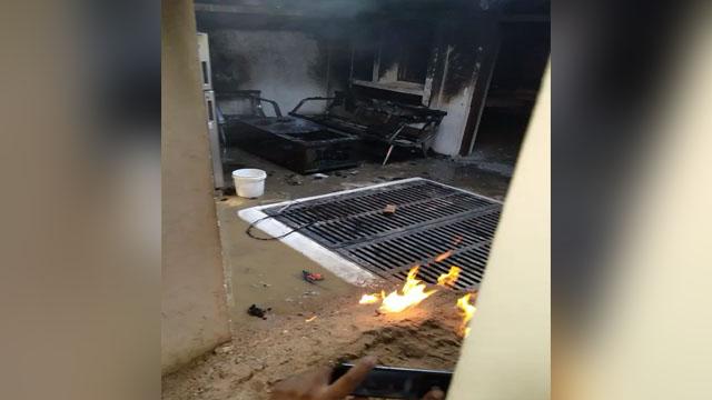 गैस सिलेंडर में आग लगने से 4 लोग झुलसे