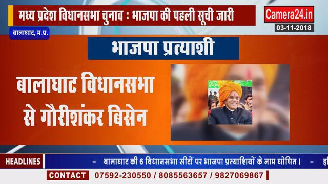 बालाघाट की 6 विधानसभा सीटों पर भाजपा प्रत्याशियों के नाम घोषित
