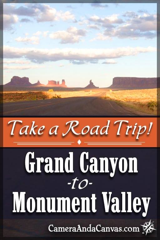 Take Road trip and drive from the Grand Canyon to Monument Valley! From the Grand Canyon South rim it's about a 3 hour trip, and there are a few places to stop and see along the way such as the Little Colorado River Gorge, and Navajo shops selling all kinds of jewelry, pottery, and hand made crafts! #MonumentValley #GrandCanyon #RoadTrip
