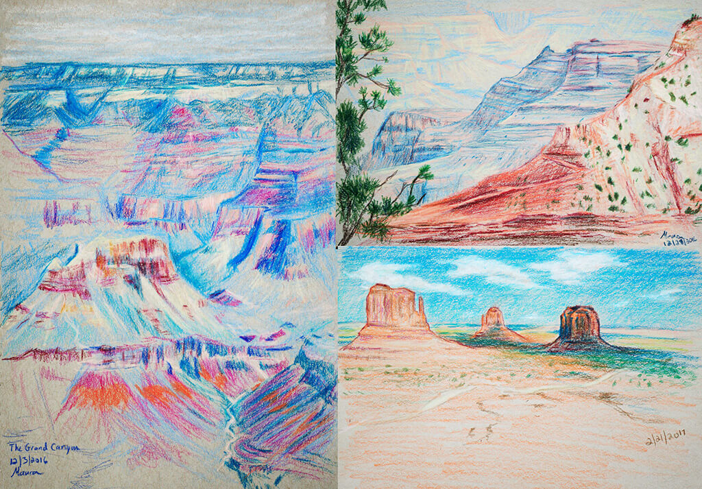 Colored Pencil Landscape Drawings, Grand Canyon, Monument Valley