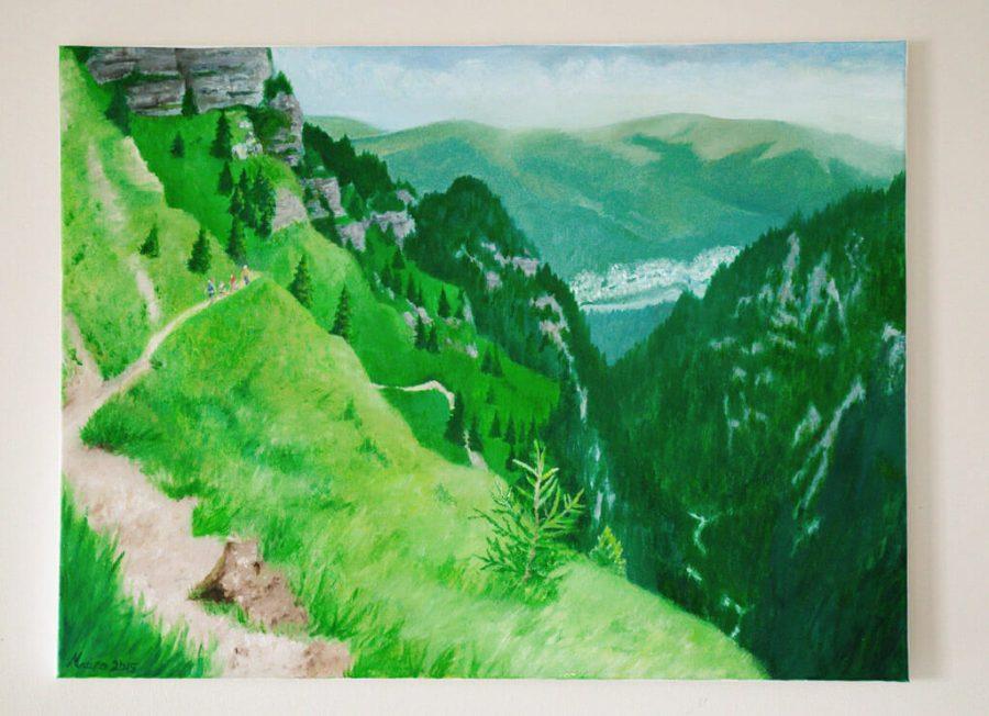 Oil Painting Jepii Mici Trail, Romania by Maura Elko