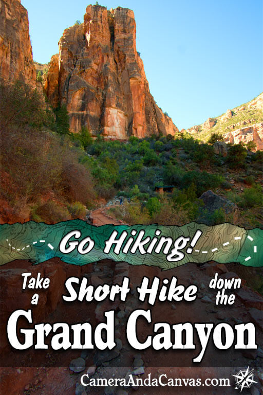 Take a short hike down the Grand Canyon. Bright Angel Trail to 1.5 Mile Resthouse. Mile and a Half Resthouse, Casual Hiking, Day Hiking, Easy hike in the Grand Canyon