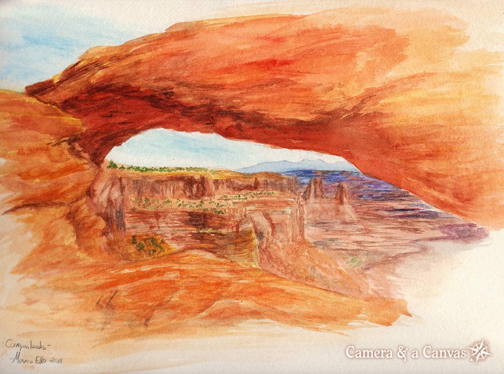Canyonlands Mesa Arch Watercolor Painting