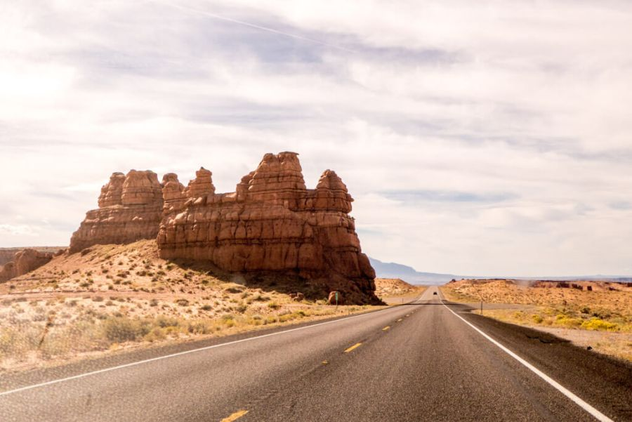 Cool rock formations on the side of the road