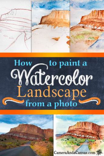 How to paint a watercolor landscape from a photo tutorial