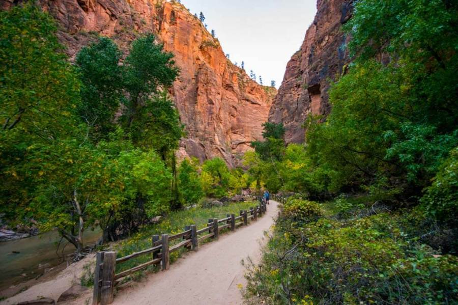 Riverside walk trail in Zion