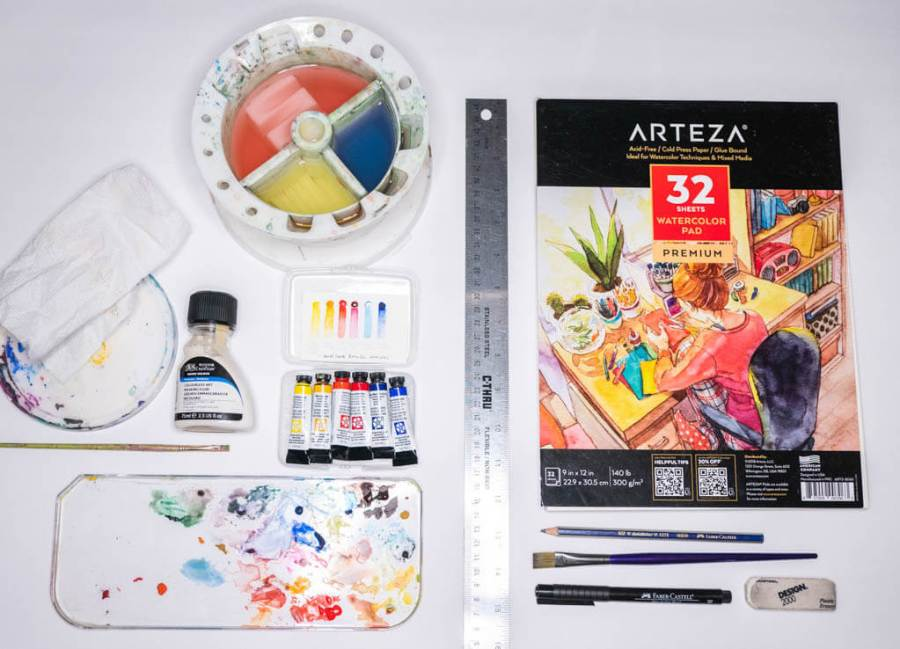 watercolor supplies to create a color wheel