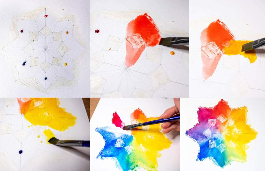 painting in your color wheel shape and blending colors