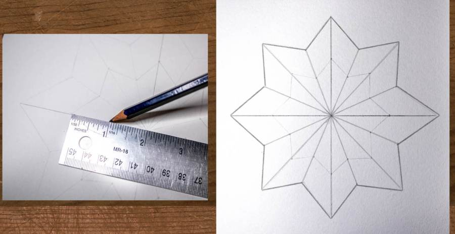 drawing in the inner star shape