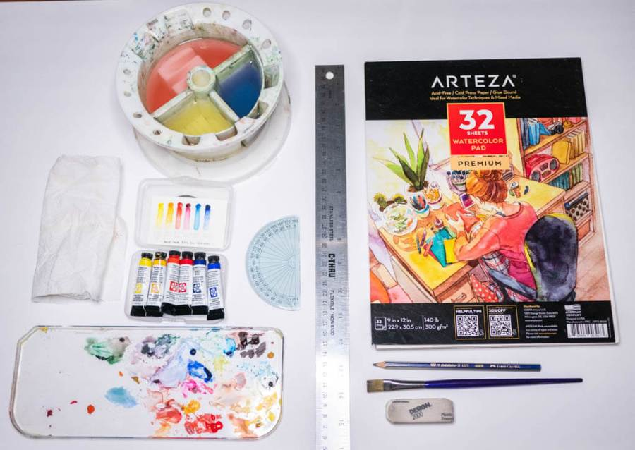 watercolor paint, arteza premium paper, daniel smith paints, water container, protractor, ruler, pencil and paper.