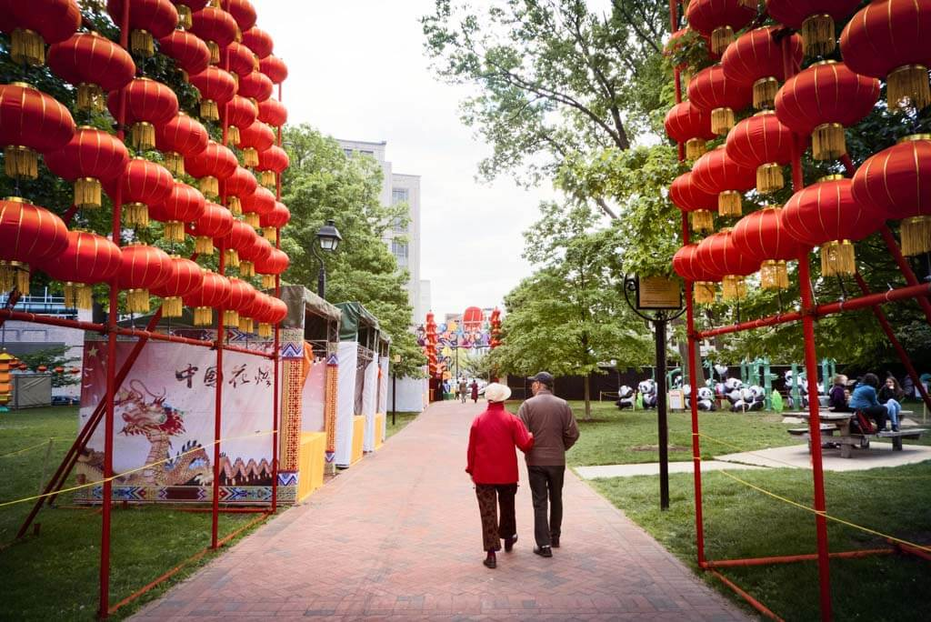 Chinese Lantern Festival 2017, Franklin Square, Philadelphia. Red lanterns.