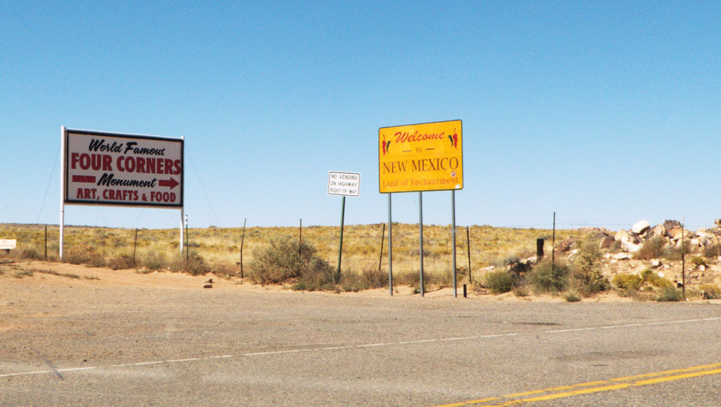Four Corners Welcome to New Mexico Signs