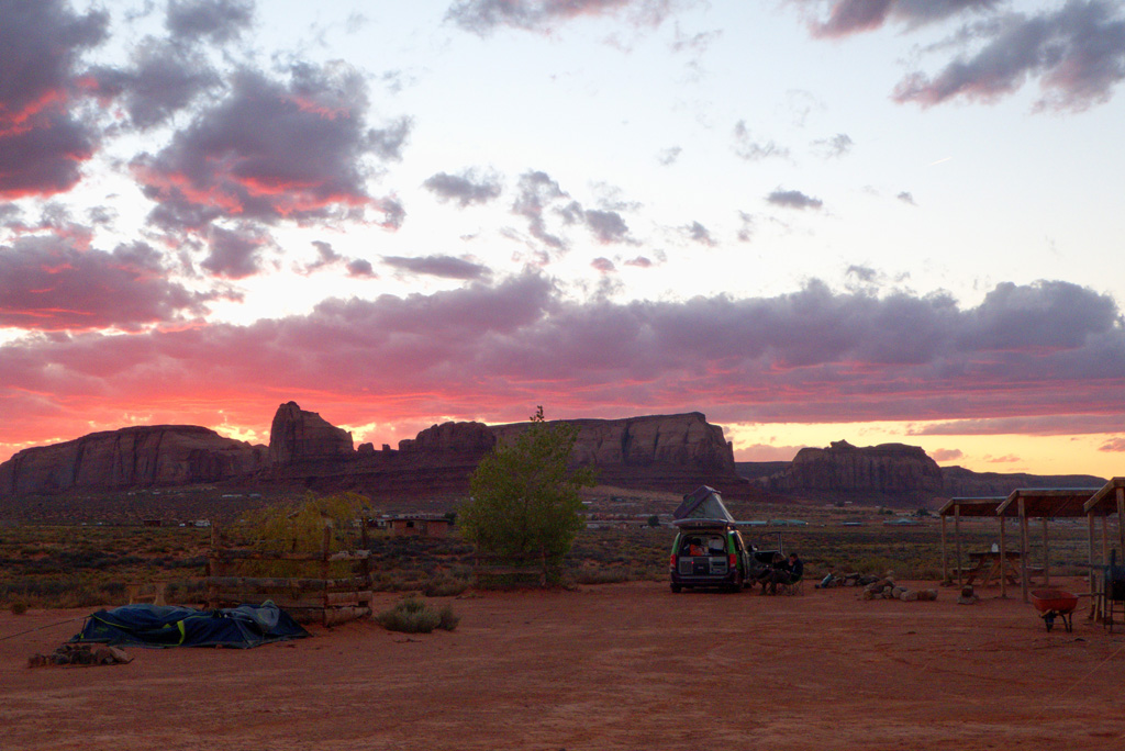 Monument valley sunset over the campground