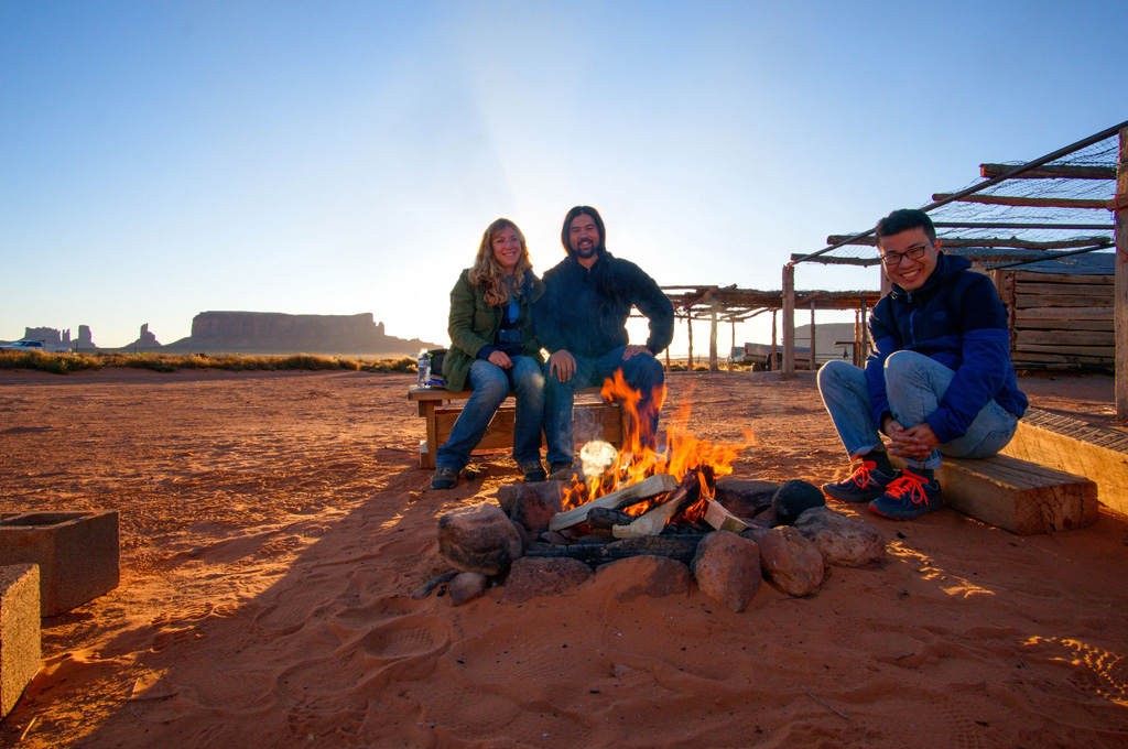 Campfire with friends Monument Valley