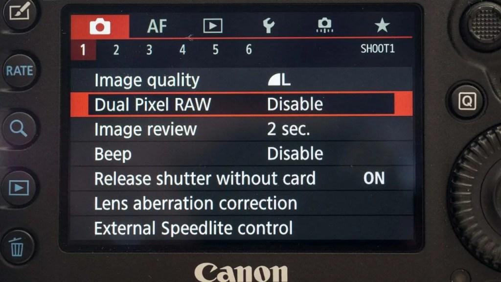 Canon 5D Mark IV Dual Pixel Raw option